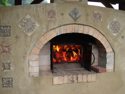 Heating up the outdoor oven