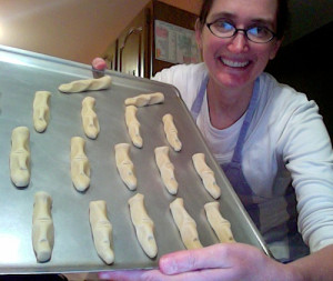 Here's me with my fingers before baking.